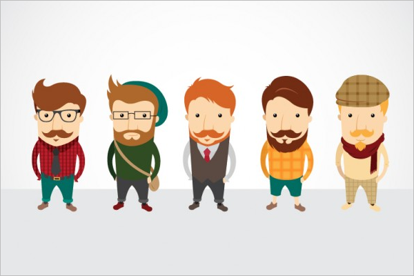Hipster Character Design Free Vector