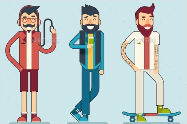 Hipster CharacterDesign Illustration