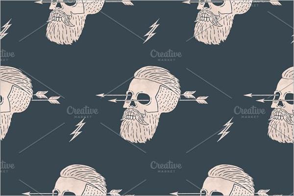 Hipster skull Seamless pattern