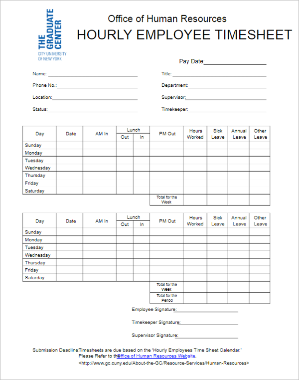 Hourly Employee Timesheet Template