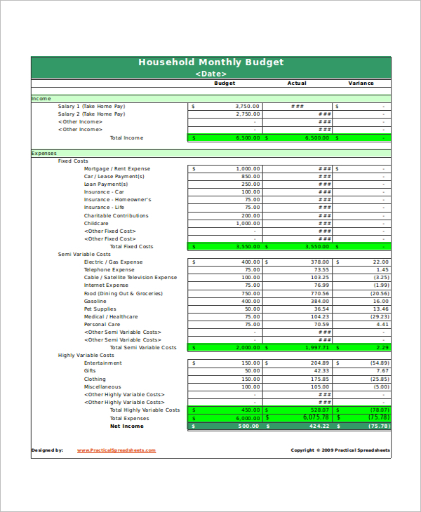 Household Budget Excel Format