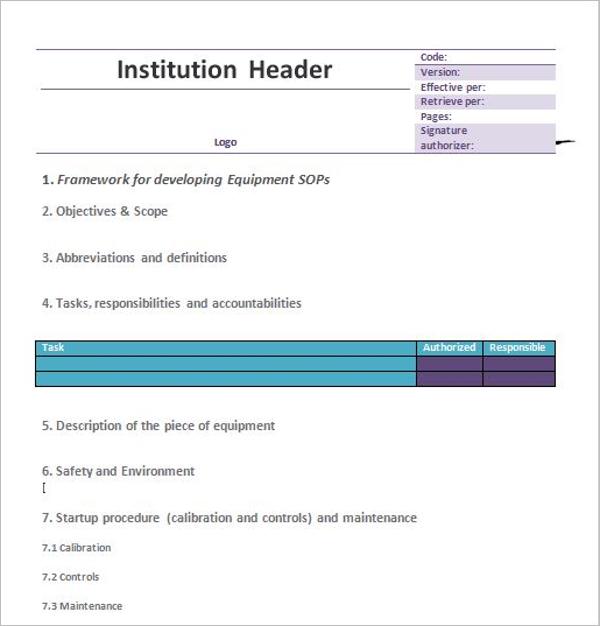 Institution Standard Operating Procedure