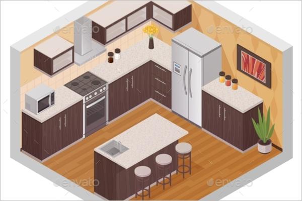 Interior kitchen pattern vector