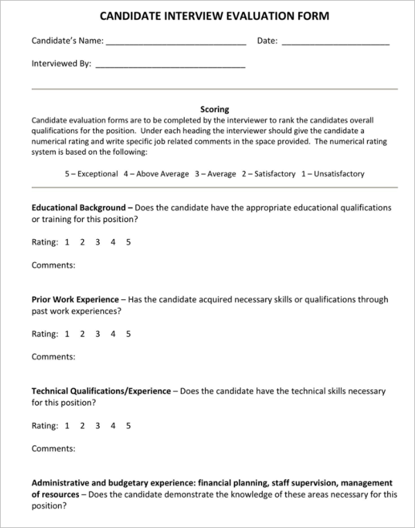 60 performance evaluation forms templates free samples pdf 4 interview evaluation form template pronofoot35fo Images