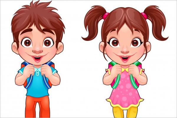 Isolated Cartoon Girl Characters