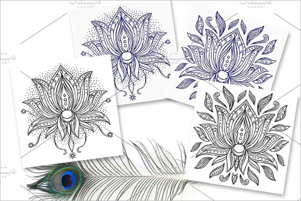 Isolated Tattoo Flower Design