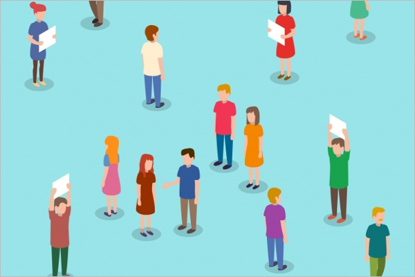 Isometric People Character Background
