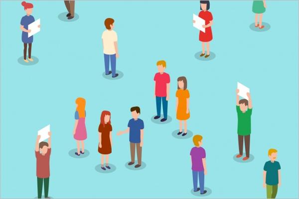 Isometric People Character Background