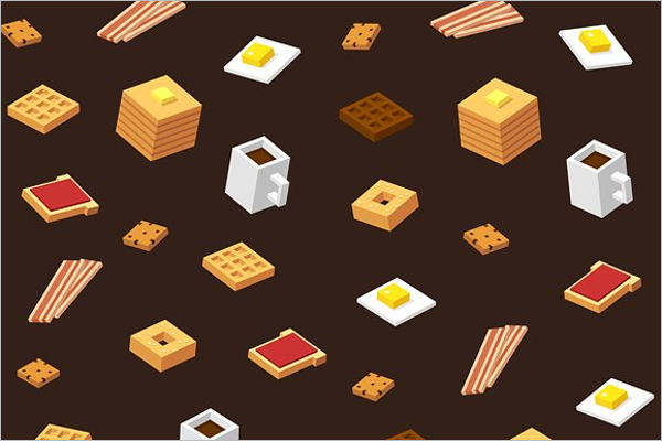Isometric Vector Food Background