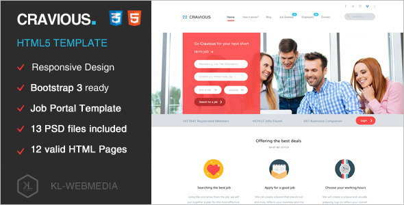 20+ Job Portal HTML5 Templates Free & Premium Website Themes