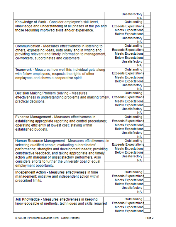 Job Performance Evaluation Form