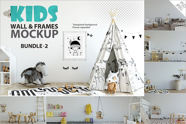 Kids Wall Mockup Bundle Design