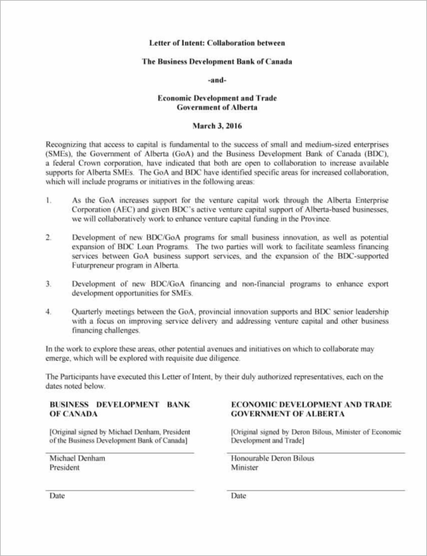 rfp letter of intent template - 33 letter of intent templates free word sample documents