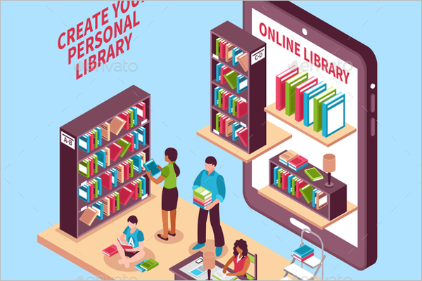 Library Isometric Background