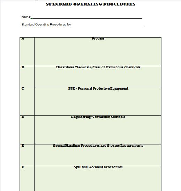 MS Word Standard Operating Procedure Template
