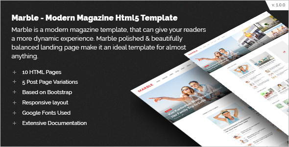 Magazine Website HTML5 Template