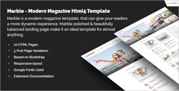 Magazine Website HTML5 Template