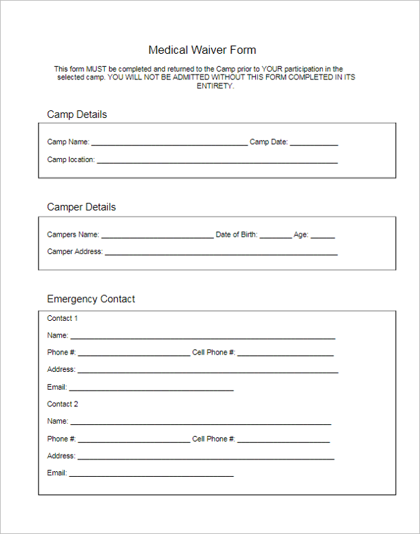 Medical Form Template Doc