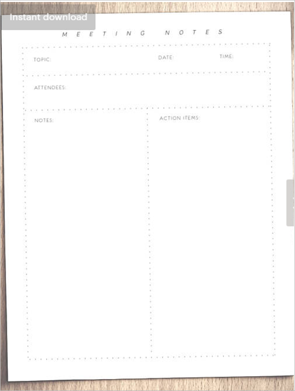 Meeting Agenda Note Template