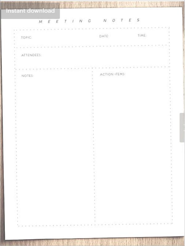 Meeting Agenda Note Template