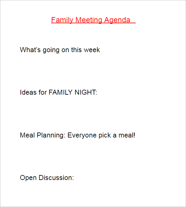 Meeting Agenda Sample Doc