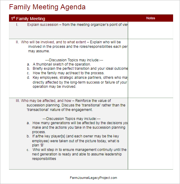 Meeting Agenda Template Doc  Management Meeting Agenda Template