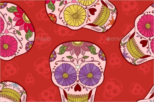 Mexican Skull Seamless Pattern