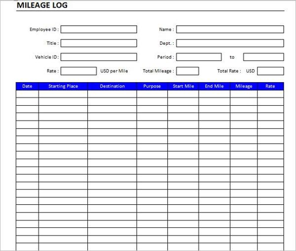 Mileage Log Example