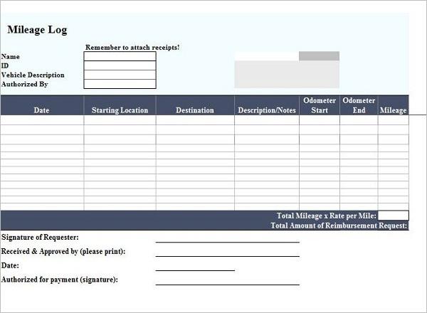 Mileage Log Excel Document