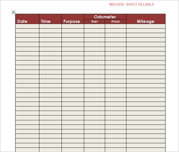 Mileage Log Word Template