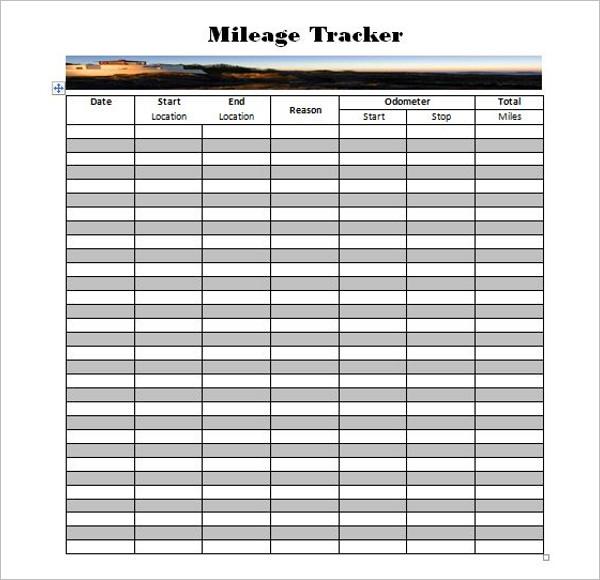 Mileage Tracker Log Sheet Template