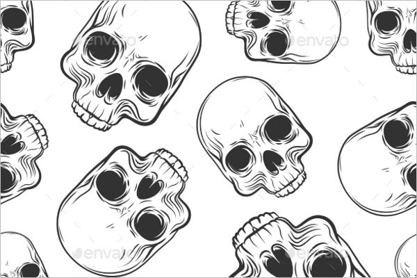 Minimal Skull Seamless Pattern