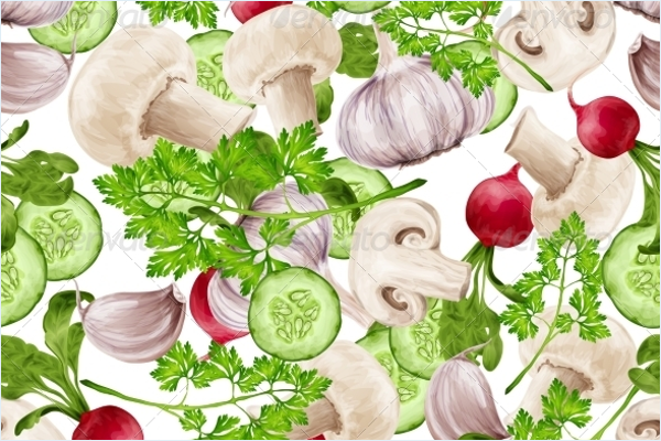 Mixed Vegetables Fabric Design