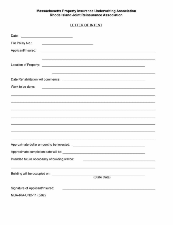 Model letter of Intent Template