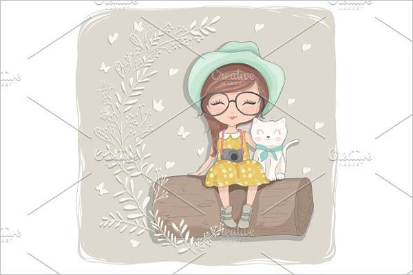 Modern Girl Cartoon Character