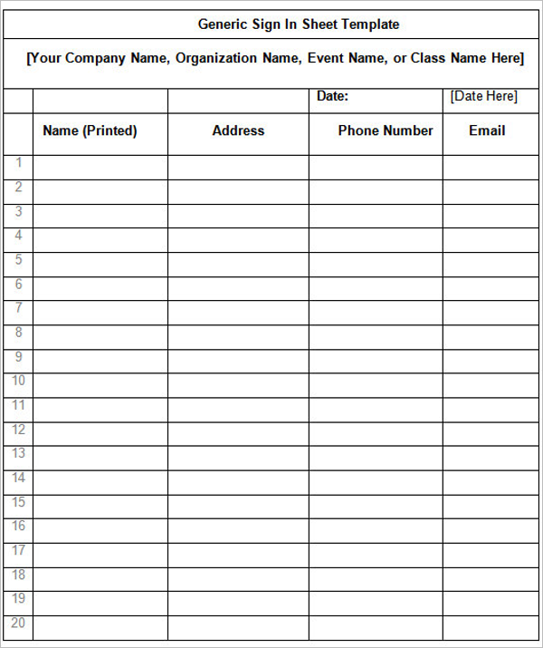 Modern Sign In Sheet Template