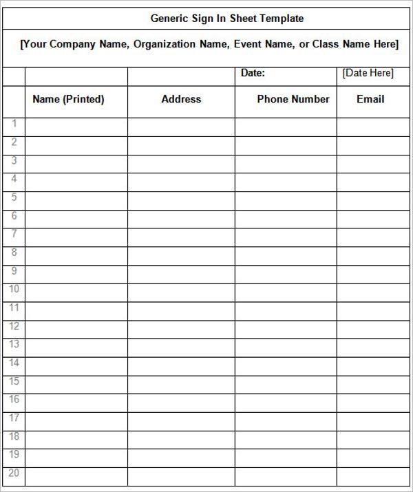 ModernSign In Sheet Template