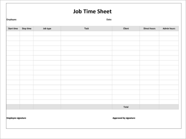 Monthly Job Timesheet Template