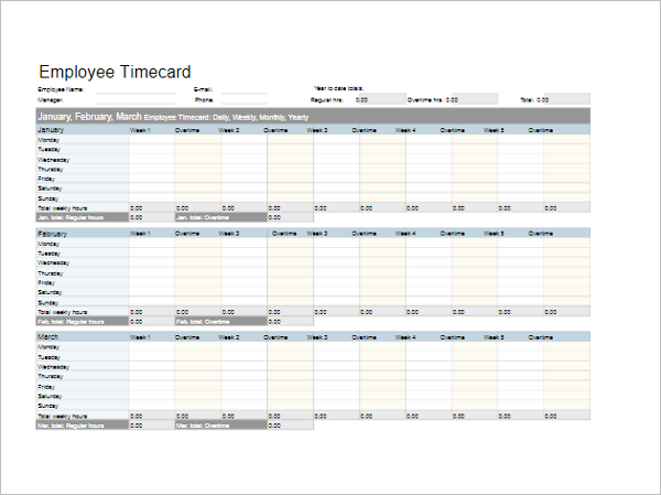Ms Excel Hr Timesheet Template