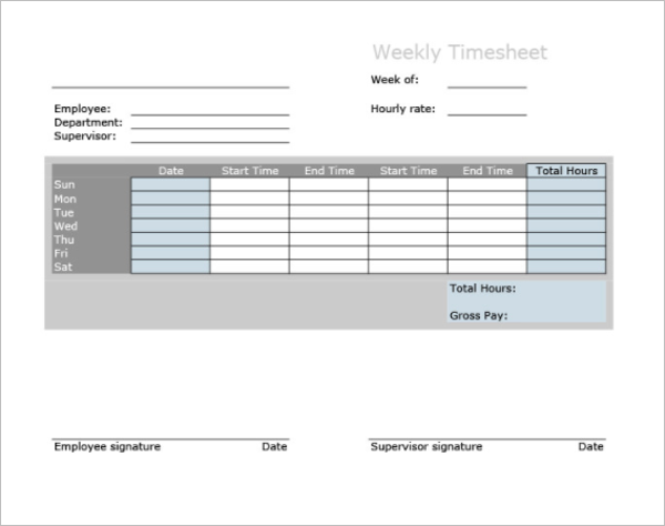 No-break Weekly Timesheet Template
