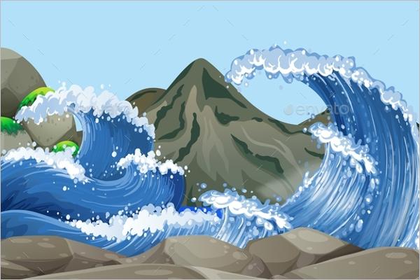 Ocean Scene Wave Background