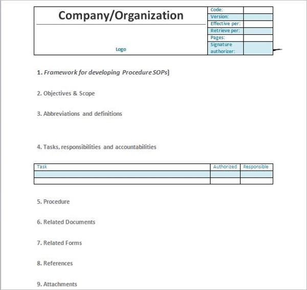 Organization Standard Operating Procedure