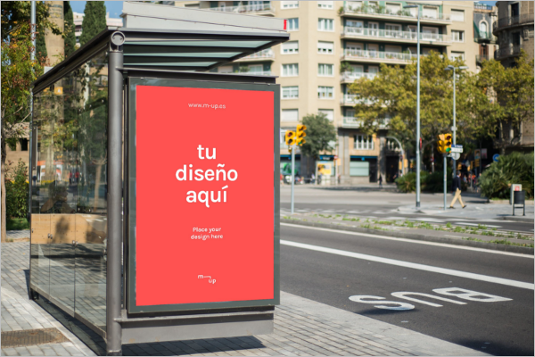 Outdoor Bus Stop Advertising Mockup Template