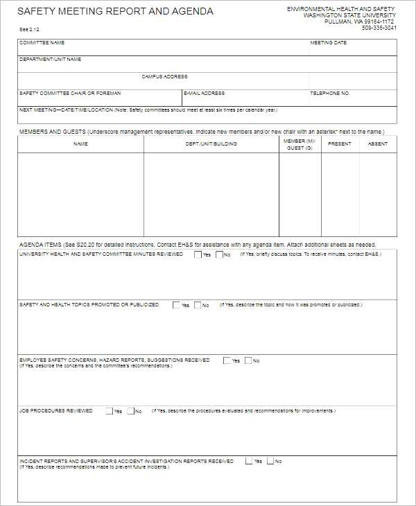 Personal Personal Meeting Agenda Word