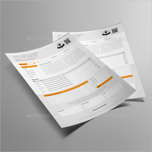 Price Quote US Letter Template