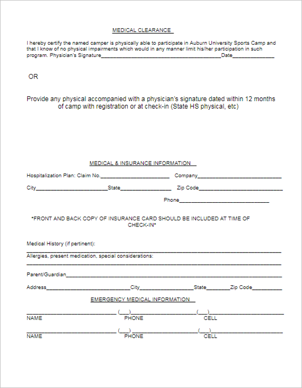 Printable Medical Format