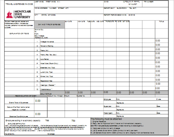 Printable Travel Invoice Template
