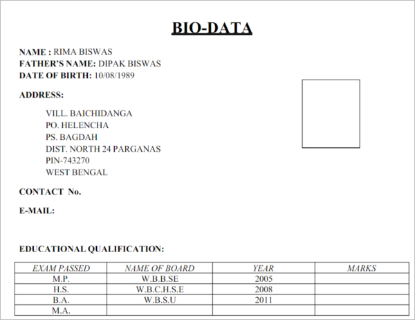 sample of bio data form