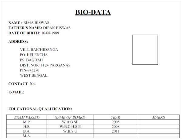 Biodata Sample Form