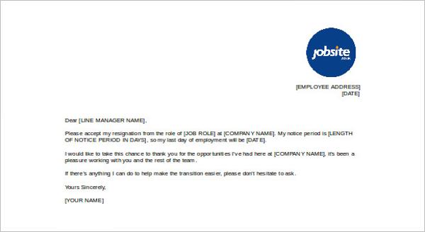 Professional Resignation Form Template